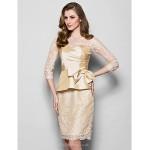 Sheath/Column Plus Sizes / Petite Mother of the Bride Dress - Champagne Knee-length 3/4 Length Sleeve Lace / Taffeta Mother Of The Bride Dresses