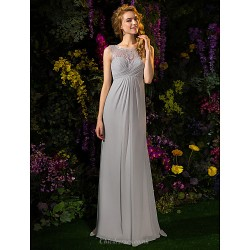 Sweep/Brush Train Lace / Georgette Bridesmaid Dress - Silver Plus Sizes / Petite A-line Jewel