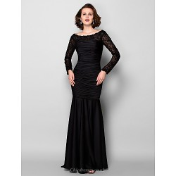Sheath Column Plus Sizes Petite Mother Of The Bride Dress Black Sweep Brush Train Long Sleeve Jersey Lace