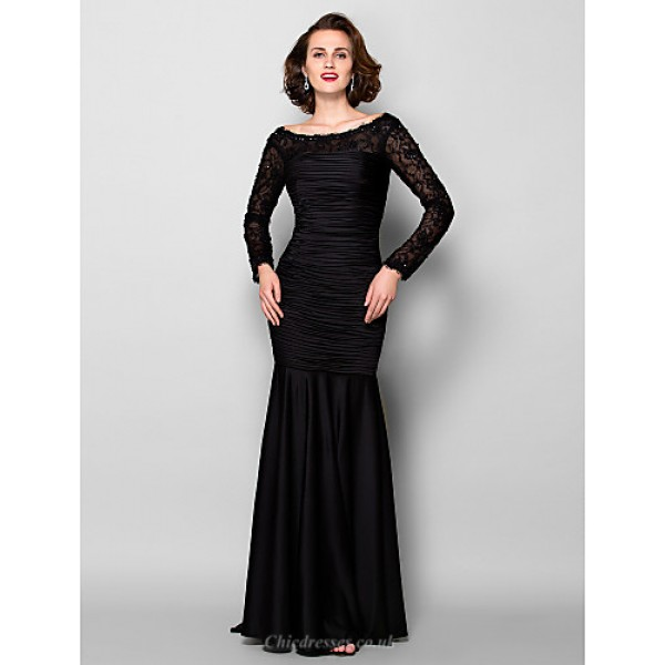Sheath/Column Plus Sizes / Petite Mother of the Bride Dress - Black Sweep/Brush Train Long Sleeve Jersey / Lace Mother Of The Bride Dresses