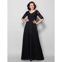 A-line Plus Sizes / Petite Mother of the Bride Dress - Black Floor-length Half Sleeve Chiffon / Lace