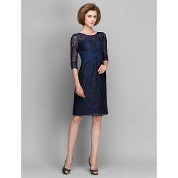 Sheath/Column Mother of the Bride Dress - Dark Navy Knee-length 3/4 Length Sleeve Lace