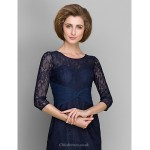 Sheath/Column Mother of the Bride Dress - Dark Navy Knee-length 3/4 Length Sleeve Lace Mother Of The Bride Dresses