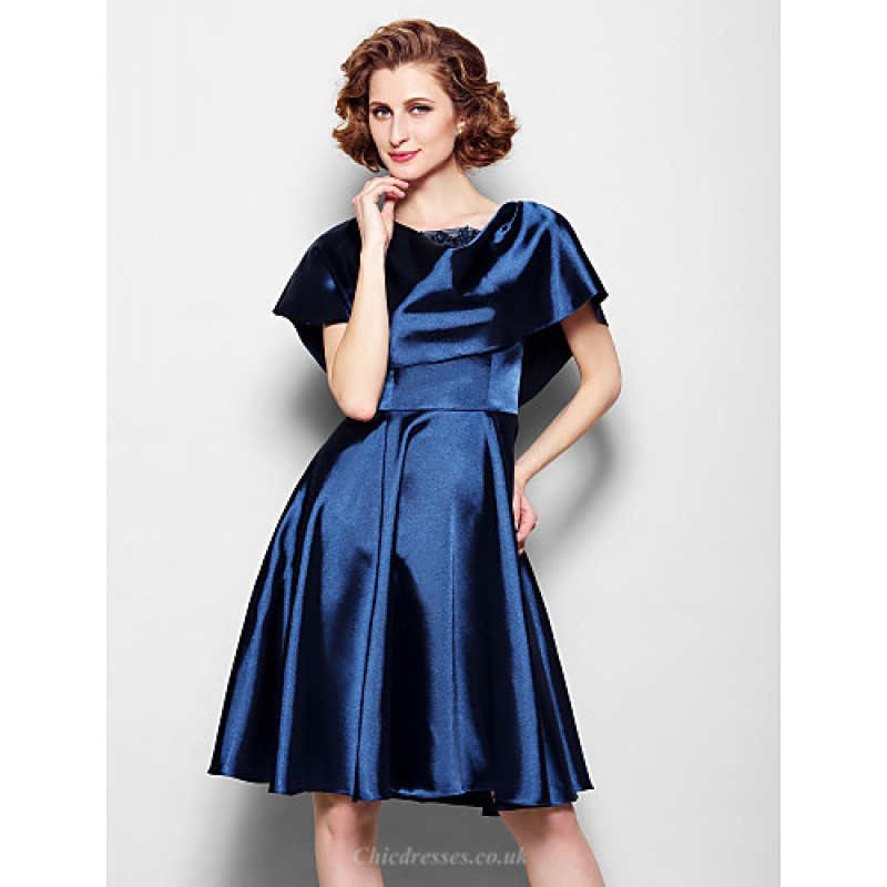 f850b6f5a4d5 ... A-line Plus Sizes / Petite Mother of the Bride Dress - Dark Navy Knee  ...