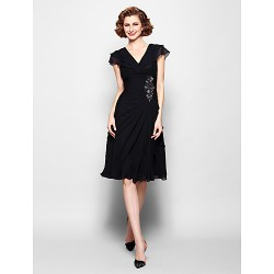 A Line Plus Sizes Petite Mother Of The Bride Dress Black Knee Length Short Sleeve Chiffon