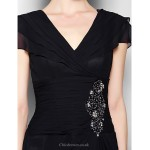 A-line Plus Sizes / Petite Mother of the Bride Dress - Black Knee-length Short Sleeve Chiffon Mother Of The Bride Dresses