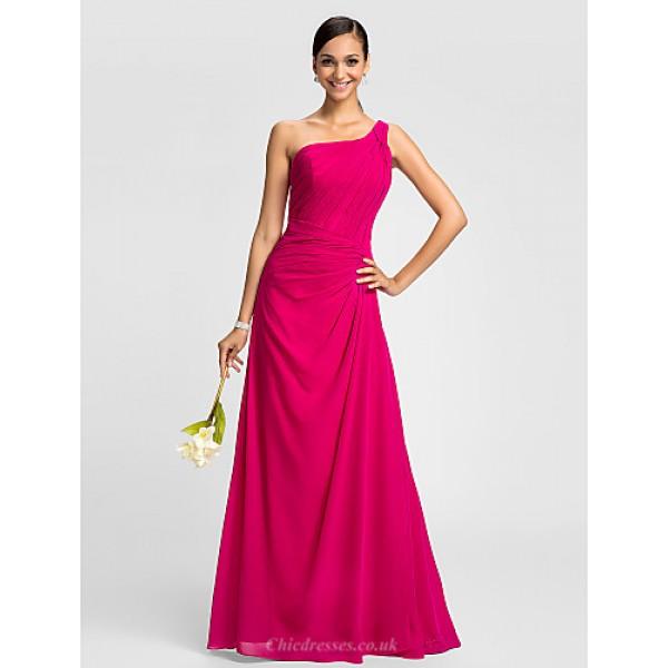 Dress - Fuchsia Plus Sizes / Petite A-line One Shoulder Floor-length Chiffon Special Occasion Dresses