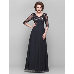 Dress - Black Plus Sizes / Petite A-line V-neck Floor-length Chiffon / Lace