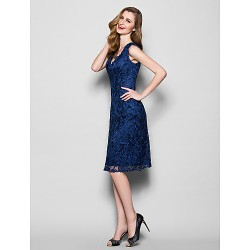 Sheath Column Plus Sizes Petite Mother Of The Bride Dress Dark Navy Knee Length Sleeveless Lace