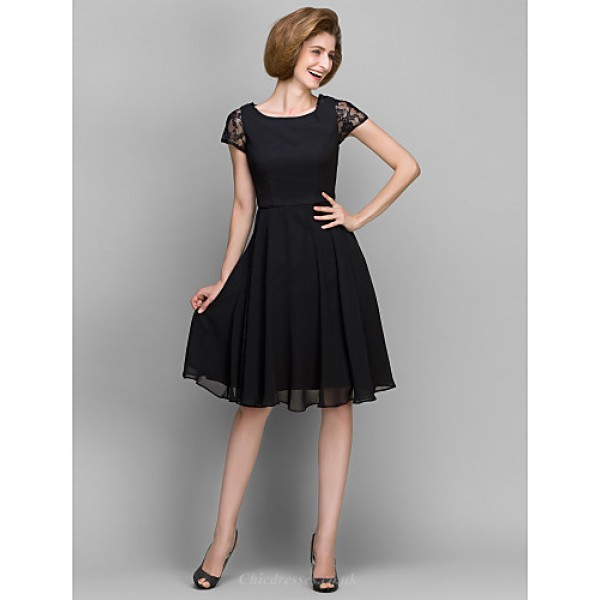 A-line Mother of the Bride Dress - Black Knee-length Short Sleeve Chiffon Mother Of The Bride Dresses