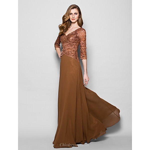 A-line Plus Sizes / Petite Mother of the Bride Dress - Brown Floor-length 3/4 Length Sleeve Lace / Georgette Mother Of The Bride Dresses