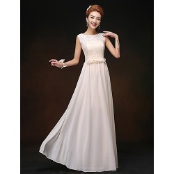 Floor Length Chiffon Bridesmaid Dress Champagne Sheath Column Scoop