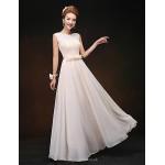 Floor-length Chiffon Bridesmaid Dress - Champagne Sheath/Column Scoop Special Occasion Dresses
