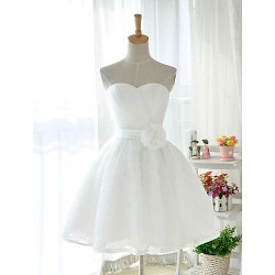 Knee Length Tulle Stretch Satin Bridesmaid Dress White Ball Gown Sweetheart