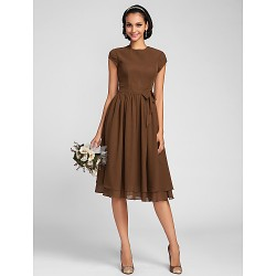 Knee Length Chiffon Bridesmaid Dress Brown Plus Sizes Petite A Line Jewel
