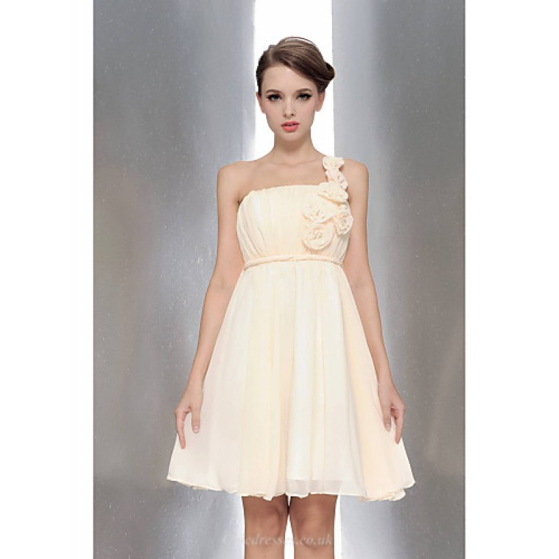 97f35844af Knee-length Chiffon Bridesmaid Dress - Champagne   White   Ruby   Fuchsia    Lavender