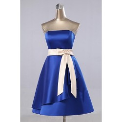 Formal Evening Dress - As Picture A-line Strapless Knee-length Satin