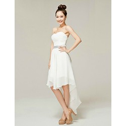 Cocktail Party Dress White A Line Sweetheart Ankle Length Nylon Taffeta