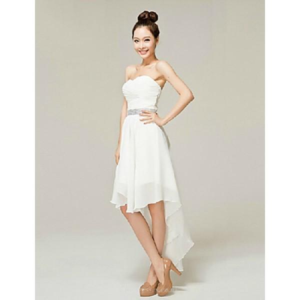 Cocktail Party Dress - White A-line Sweetheart Ankle-length Nylon Taffeta Celebrity Dresses