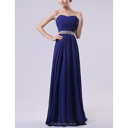 Floor Length Chiffon Bridesmaid Dress Royal Blue Ruby Watermelon White Lavender A Line Sweetheart