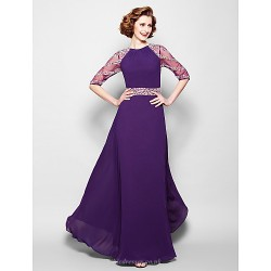 A-line Plus Sizes / Petite Mother of the Bride Dress - Regency Floor-length Half Sleeve Georgette / Tulle