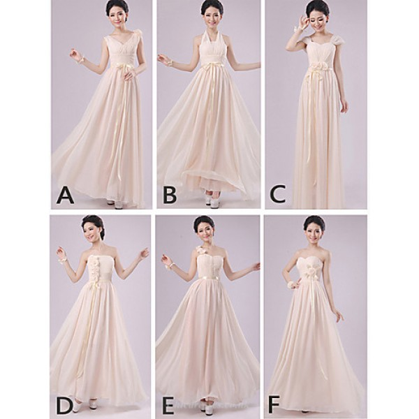 Mix & Match Dresses Floor-length Chiffon 5 Styles Bridesmaid Dresses (2840143) Special Occasion Dresses