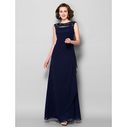 Sheath/Column Plus Sizes / Petite Mother of the Bride Dress - Dark Navy Floor-length Sleeveless Georgette