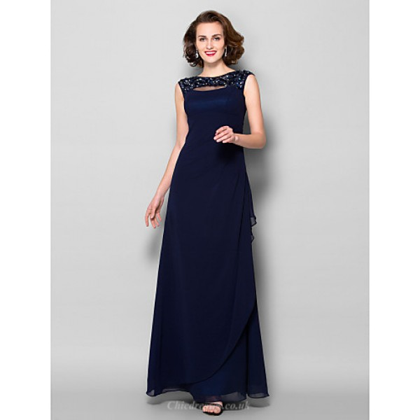 Sheath/Column Plus Sizes / Petite Mother of the Bride Dress - Dark Navy Floor-length Sleeveless Georgette Mother Of The Bride Dresses