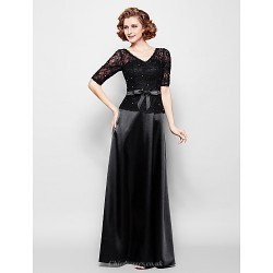 Sheath Column Plus Sizes Petite Mother Of The Bride Dress Black Floor Length Half Sleeve Lace Stretch Satin