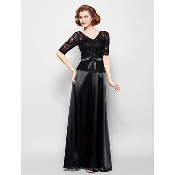 Sheath/Column Plus Sizes / Petite Mother of the Bride Dress - Black Floor-length Half Sleeve Lace / Stretch Satin Mother Of The Bride Dresses