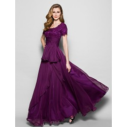 A Line Plus Sizes Petite Mother Of The Bride Dress Grape Floor Length Short Sleeve Chiffon Lace
