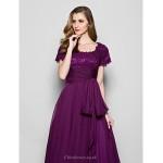 A-line Plus Sizes / Petite Mother of the Bride Dress - Grape Floor-length Short Sleeve Chiffon / Lace Mother Of The Bride Dresses