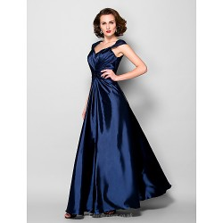 A Line Plus Sizes Petite Mother Of The Bride Dress Dark Navy Floor Length Sleeveless Stretch Satin Lace