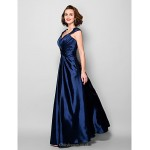 A-line Plus Sizes / Petite Mother of the Bride Dress - Dark Navy Floor-length Sleeveless Stretch Satin / Lace Mother Of The Bride Dresses