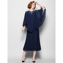 Sheath Column Plus Sizes Petite Mother Of The Bride Dress Dark Navy Tea Length 3 4 Length Sleeve Chiffon