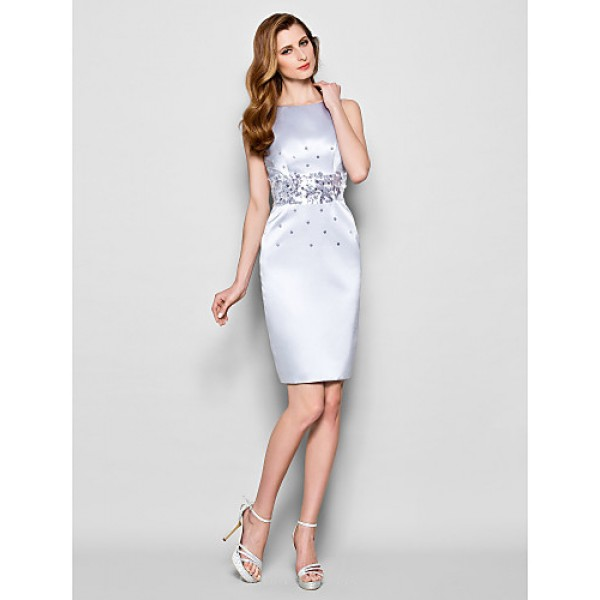 Sheath/Column Plus Sizes / Petite Mother of the Bride Dress - Silver Knee-length Sleeveless Satin Mother Of The Bride Dresses