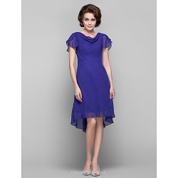 Dress - Regency Plus Sizes / Petite Sheath/Column Cowl Knee-length / Asymmetrical Chiffon