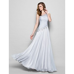A Line Plus Sizes Petite Mother Of The Bride Dress Silver Floor Length Sleeveless Chiffon