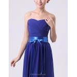 Floor-length Chiffon Bridesmaid Dress - Royal Blue / White / Watermelon / Beige / Purple / Ruby A-line Sweetheart Special Occasion Dresses