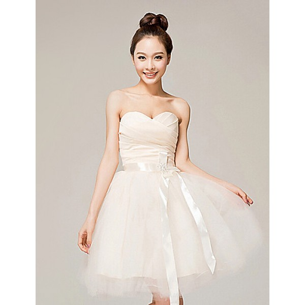 Cocktail Party Dress Champagne Ball Gown Sweetheart Knee Length Organza