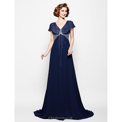 A-line Plus Sizes / Petite Mother of the Bride Dress - Dark Navy Court Train Short Sleeve Georgette