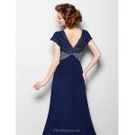 A-line Plus Sizes / Petite Mother of the Bride Dress - Dark Navy Court Train Short Sleeve Georgette Mother Of The Bride Dresses