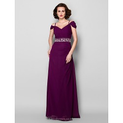 Sheath/Column Plus Sizes / Petite Mother of the Bride Dress - Grape Floor-length Short Sleeve Chiffon