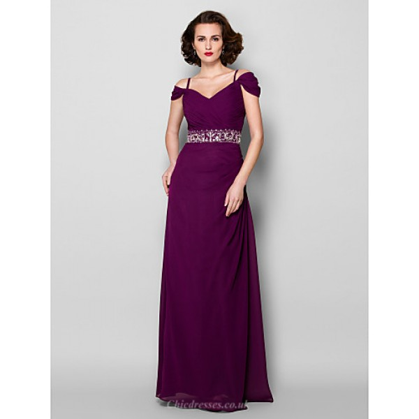 Sheath/Column Plus Sizes / Petite Mother of the Bride Dress - Grape Floor-length Short Sleeve Chiffon Mother Of The Bride Dresses