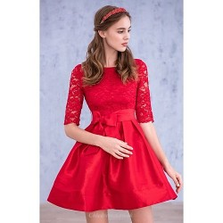 Cocktail Party Dress Ruby Ball Gown Scoop N A Lace Satin Chiffon