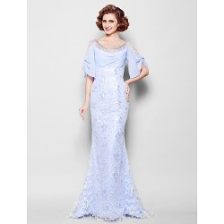 Trumpet Mermaid Plus Sizes Petite Mother Of The Bride Dress Lavender Sweep Brush Train Half Sleeve Lace