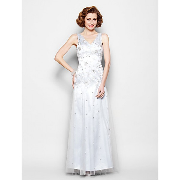 Sheath/Column Plus Sizes / Petite Mother of the Bride Dress - Silver Floor-length Sleeveless Lace / Tulle Mother Of The Bride Dresses