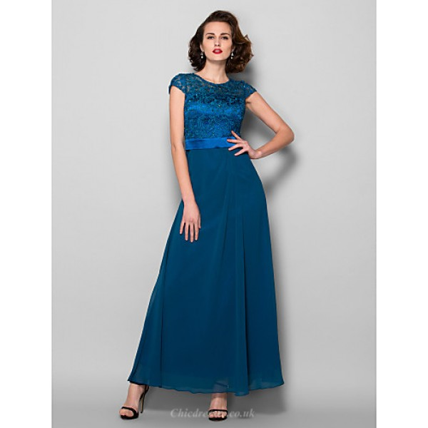 A-line Plus Sizes / Petite Mother of the Bride Dress - Ink Blue Ankle-length Short Sleeve Chiffon / Lace Mother Of The Bride Dresses