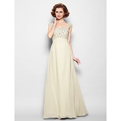 A-line Plus Sizes / Petite Mother of the Bride Dress - Champagne Floor-length Sleeveless Chiffon