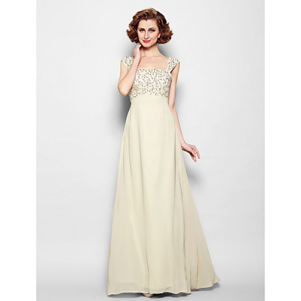 A-line Plus Sizes / Petite Mother of the Bride Dress - Champagne Floor-length Sleeveless Chiffon Mother Of The Bride Dresses